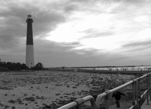 Lighthouse Sunset BW